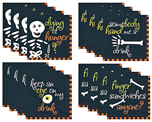 Halloween Bones Cocktail Napkins (4 Packs of 16 Napkins Per Pack. Total of 64 Napkins) (Halloween Finger Sandwiches)
