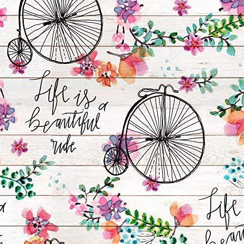 Beautiful Colorful Bike Ride Cotton Fabric by The Yard
