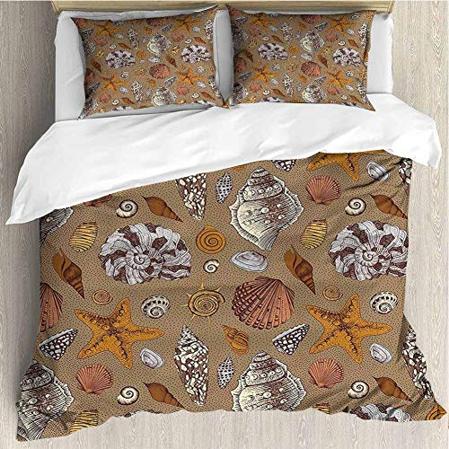 PRUNUSHOME Bedding 3 Piece Bed Sheet Set Starfish Shell Mollusk Seaurchin Sea Horse Pearl Illustration Ginger Cinnamon Cocoa Crisp Bed Linen  Queen