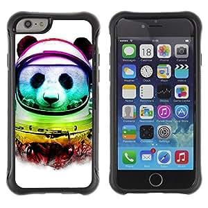 Hybrid Anti-Shock Defend Case for Apple iPhone 6 plus Inch / Neon Panda Astronaut