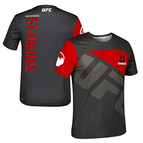 adidas Georges St Pierre UFC Reebok Black Red Official Fight Kit Walkout Jersey Men's