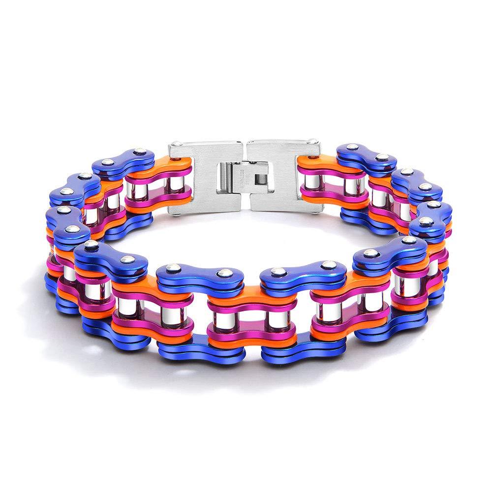 Maillon de V/élo Cha/îne de Maillons pour Bracelet de Moto Reiko Bracelet en Acier Inoxydable pour Hommes
