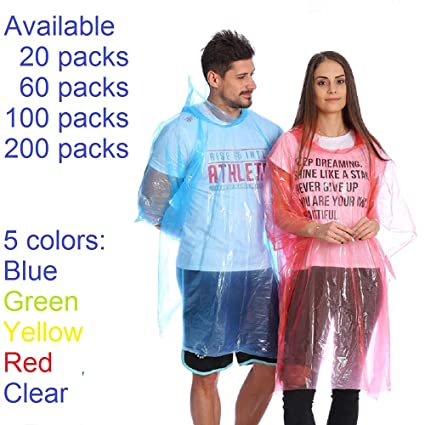 c82a6d98ecc65 Leberna Rain Ponchos for Adult & Teens | Disposable Poncho for Women & Men  | One Size Fit All with Attached Hood | Emergency Waterproof Raincoat  Camping ...