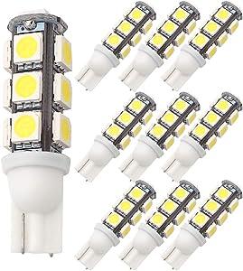 GRV T10 921 194 13-5050 SMD Wedge LED Bulb lamp Super Bright Cool White DC 12V Pack of 10