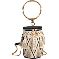 Tassels Woven Bucket Bag, Crossbody Bag For Women, Fashion Handlebag and Purses, Bag with Metal Chain Strap, travel…