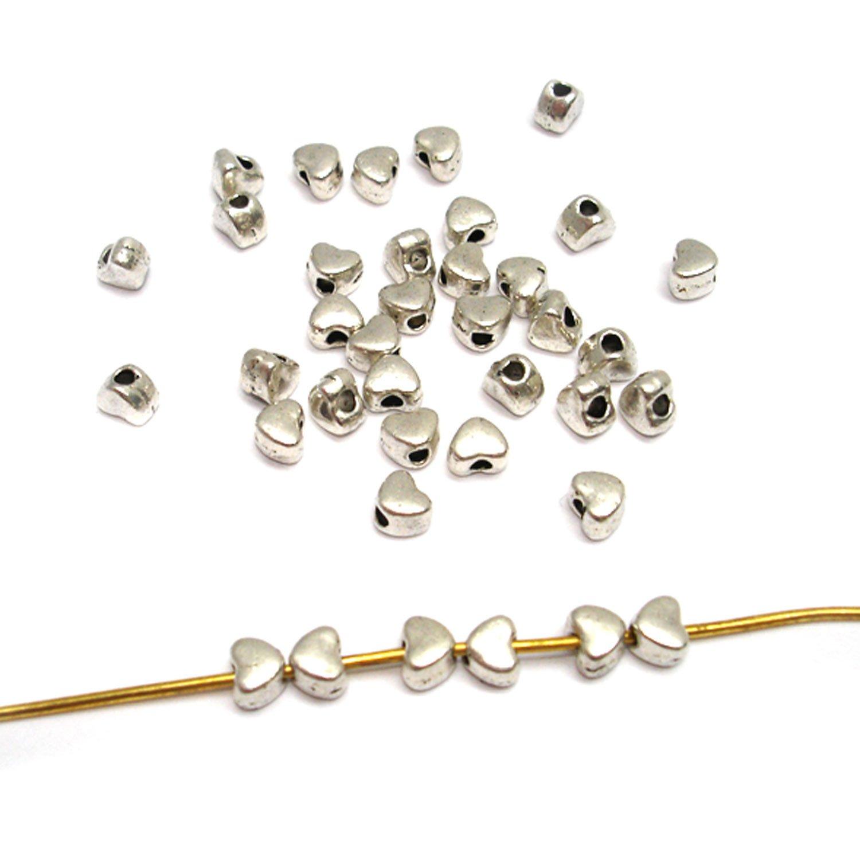 20 Metallperlen Silber 6x6mm