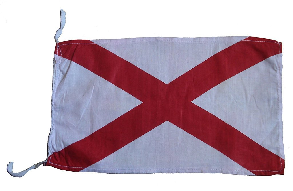 V - International Maritime Signal Code Flag , 100% Cotton , 8 X 13 - Marine / Nautical / Boat Brass Blessing