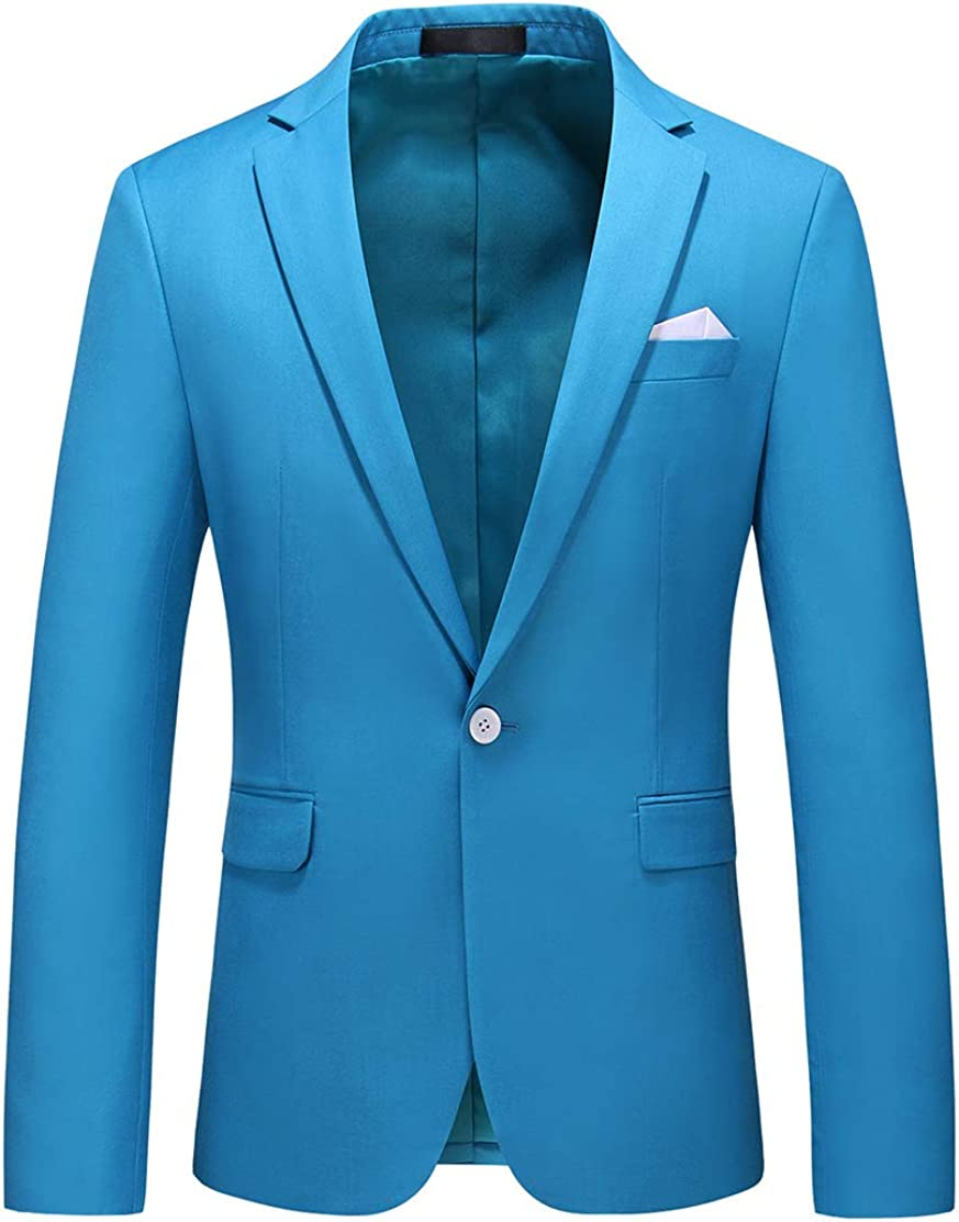 Mans Slim Fit Casual One Button Notched Lapel Turn-Down Collar Blazer Jacket