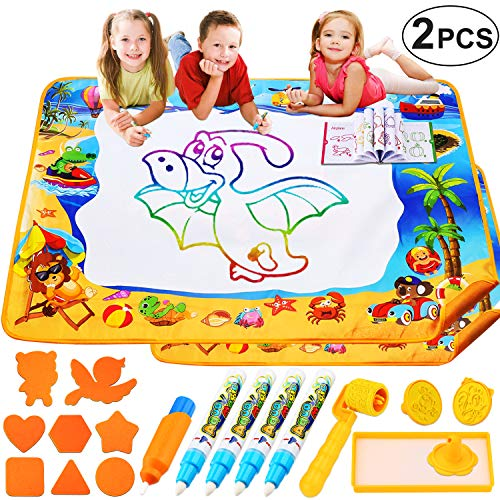 PINKULL 2 Pack Aqua Magic Mats - Mess Free Coloring with Color Wonder Set for Kids - Doodle & Drawing Toys and Gifts for Age 1 to 8 Years Old Toddlers Boys Girls