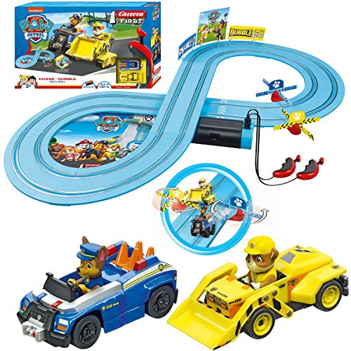 Carrera First Paw Patrol - Slot Car Race Track - Includes 2 Cars: Chase and Rubble - Battery-Powered Beginner Racing Set for Kids Ages 3 Years and Up