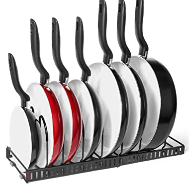 7+ Pans BetterThingsHome Expandable Pan Organizer Rack: Can Be Extended to 22.25 , Total 7 Adjustable Compartments, Pantry Cupboard Bakeware Lid Plate Holder (7+ Pan Organizer)