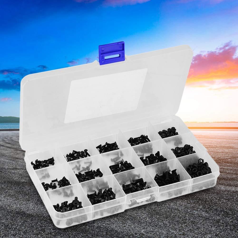 480pcs//set Black Carbon Steel Hexagonal Countersunk Screw Nut Kit M2 M2.5 M3 with Plastic Storage Box