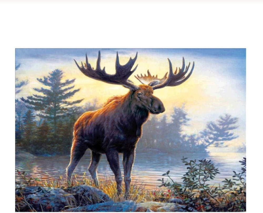 Diy Diamante Bordado 5D Diamante Pintura Punto De Cruz Kit Animal Elk Cerveza Imágenes Por Número Completo Artesanía Regalo 50x60cm