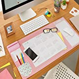 Large Desk Mouse Mat Pad, Multifunctional Anti-Slip Desk Mouse Pat Waterproof Desk Protector Mat with Smartphone Stand, Pockets, Dividing Rule, Calendar and Pen Groove(Pink)
