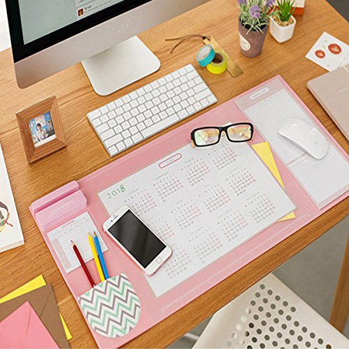 Large Desk Mouse Mat Pad, Multifunctional Anti-Slip Desk Mouse Pat Waterproof Desk Protector Mat with Smartphone Stand, Pockets, Dividing Rule, Calendar and Pen Groove(Pink) by Trinny