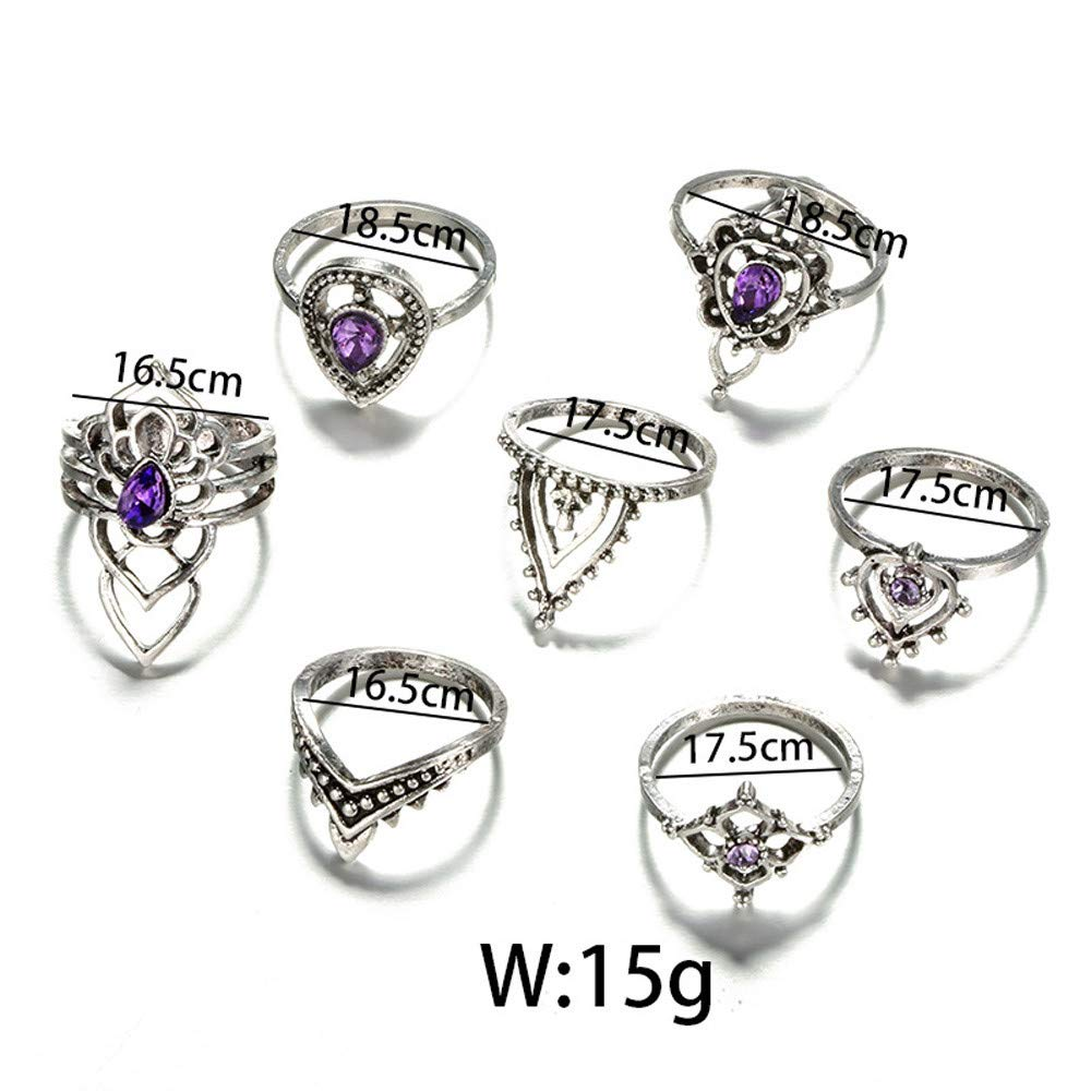 shusuen 7 Pcs Rings Set Natural Gemstone Fire Opal Diamond Purple Crystal Ring Wedding Engagement Jewel