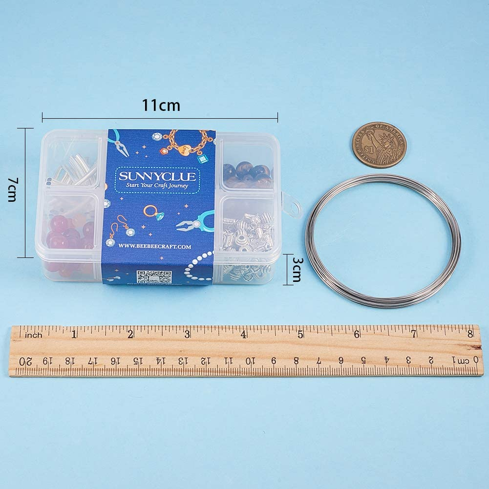 Adjustable Bracelet Supplies for Women Girls Beginners SUNNYCLUE 1 Box 4 Strands Memory Wire Bracelet Making Kit Include 1 Strand Healing Crystal Chakra /& 3 Strands Beaded Memory Wire Bracelets