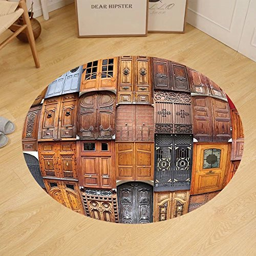 Gzhihine Custom round floor mat Rustic Decor Collection Doors From Valencia Spain Daylight Mediterranean Residence Entering Old City Bedroom Living Room Dorm by Gzhihine
