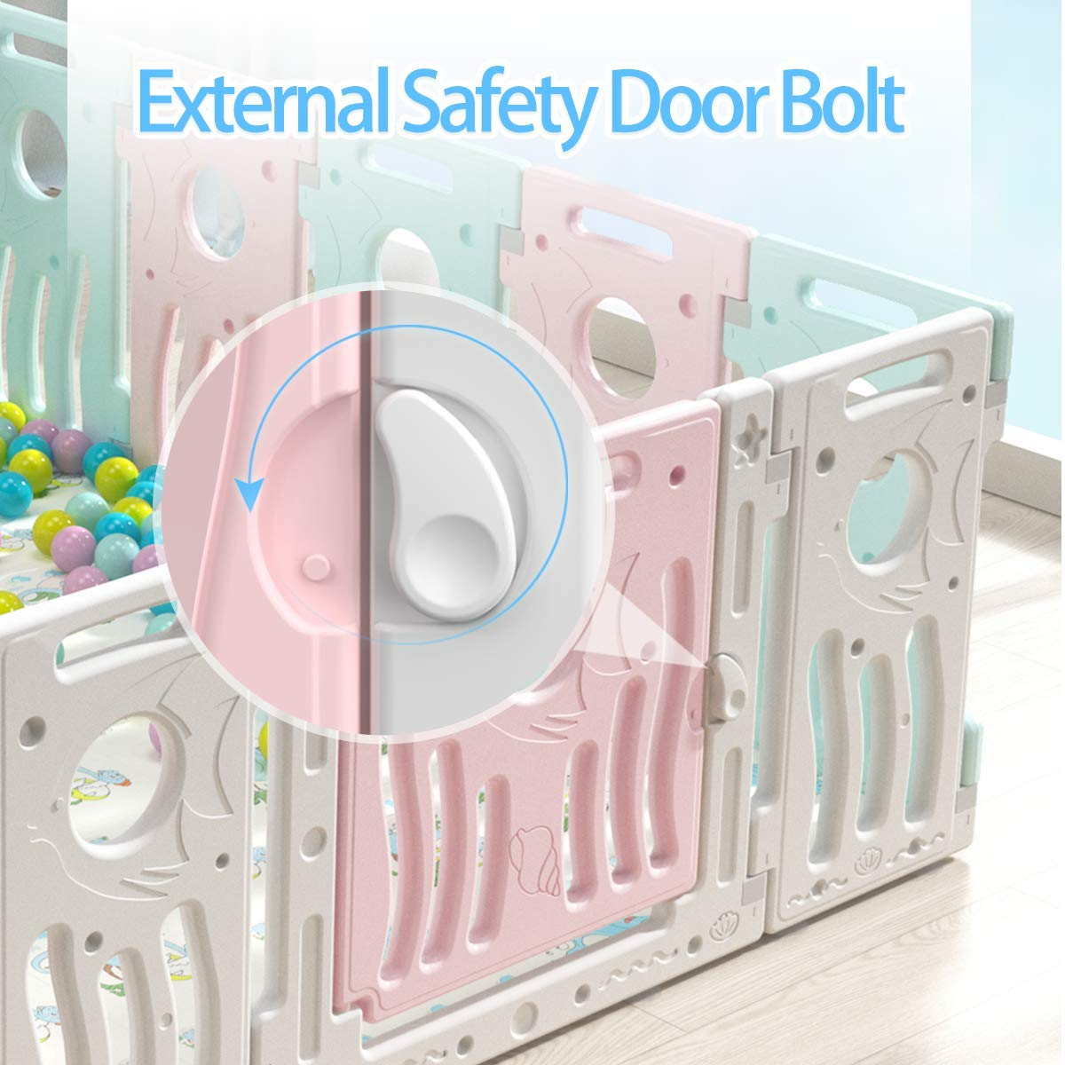 Multicolor 14 Panel KingSo Baby Playpen Foldable Kids Baby Safety Play Yard Activity Centre with External Lock Gate for Home Indoor