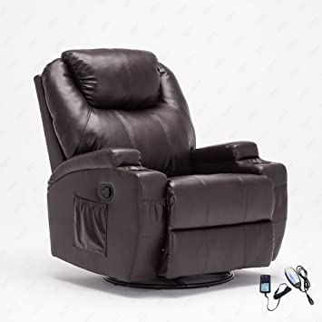 Amazon.com: RECLINER GENIUS Leather Recliner Chair Heated Massage ...