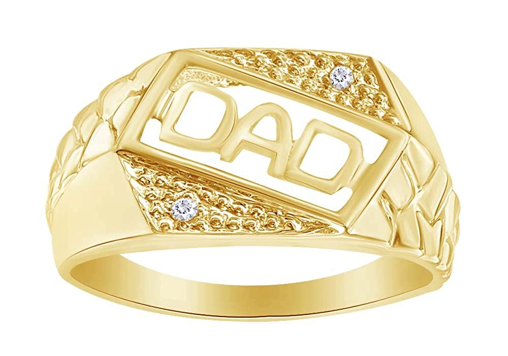 Mens Diamond Accent DAD Slant Nugget Ring in 10K Solid Gold For Fathers Day Gift