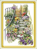 Joy Sunday Cross Stitch Kits 11CT Stamped Flower Stairs 16.5'x22.4' or 42cmx57cm Easy Patterns Embroidery for Girls Crafts DMC Cross-Stitch Supplies Needlework Animal Series