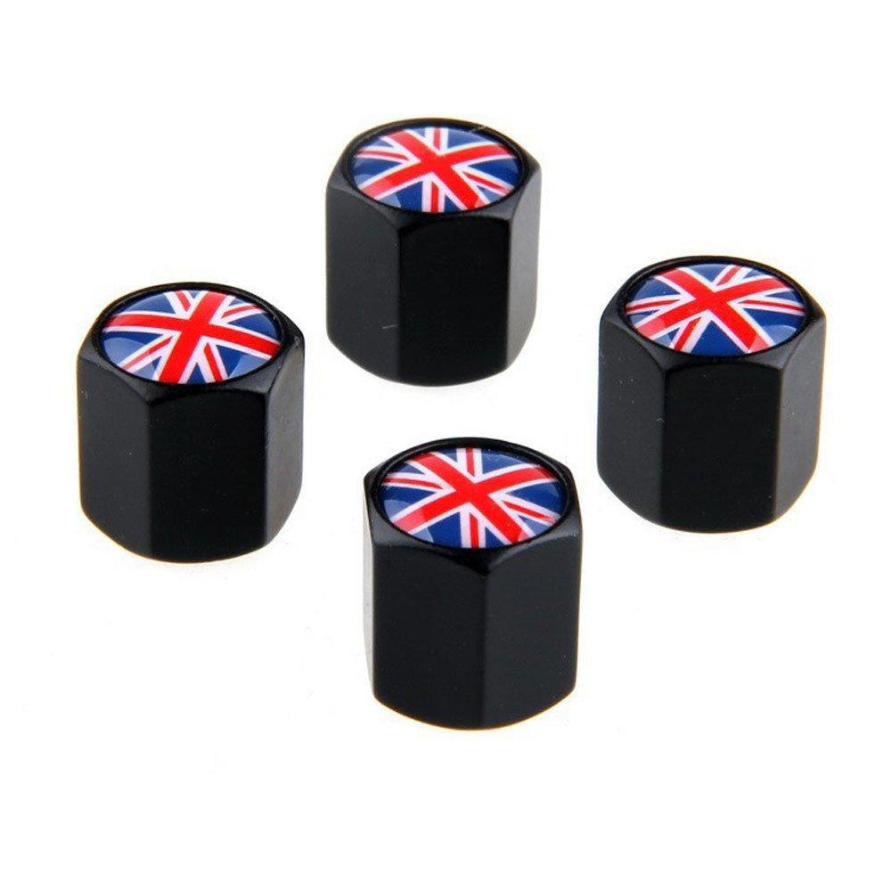 4x tappi coprivalvole Bandiera Inglese pneumatico coprivalvola auto valvola NERO