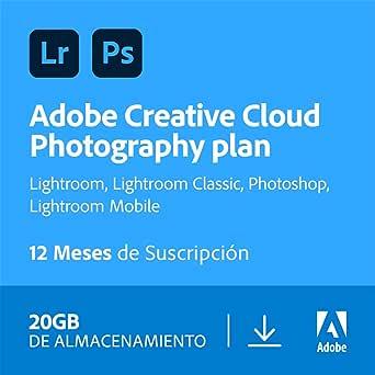 Creative Cloud Photography plan with 20GB   1 Año   PC/Mac   Código de activación enviado por email