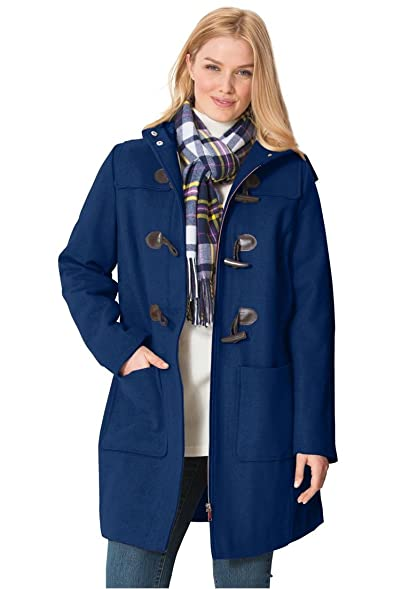 Woman Within Women's Plus Size Classic Duffle Coat at Amazon ...
