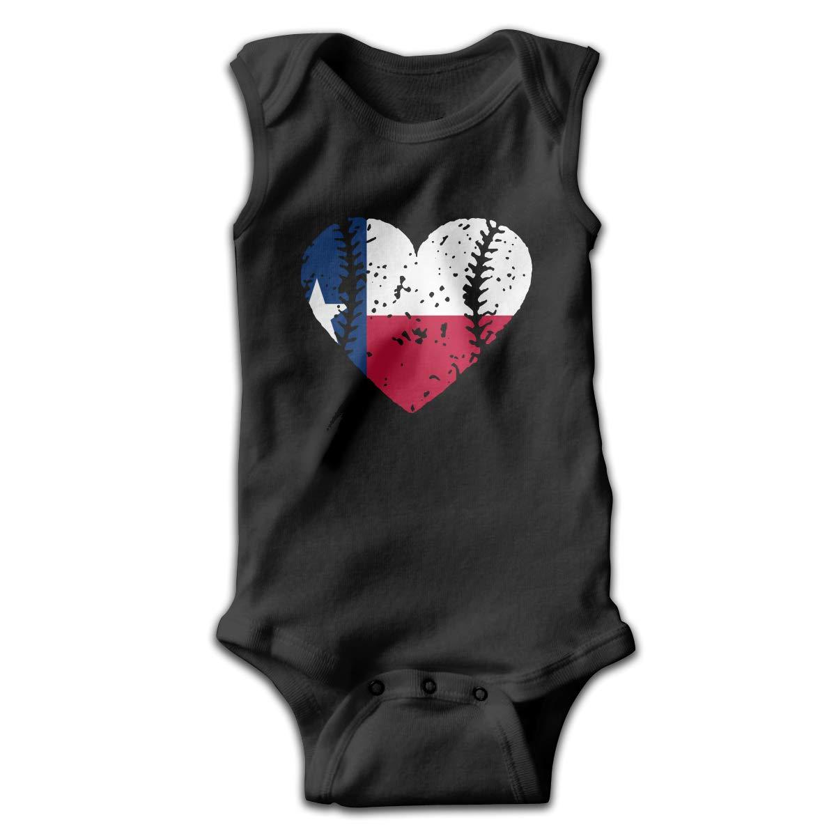 MMSSsJQ6 Baseball Heart Texas Flag Baby Boys Girls Infant Creeper Sleeveless Romper Bodysuit Rompers