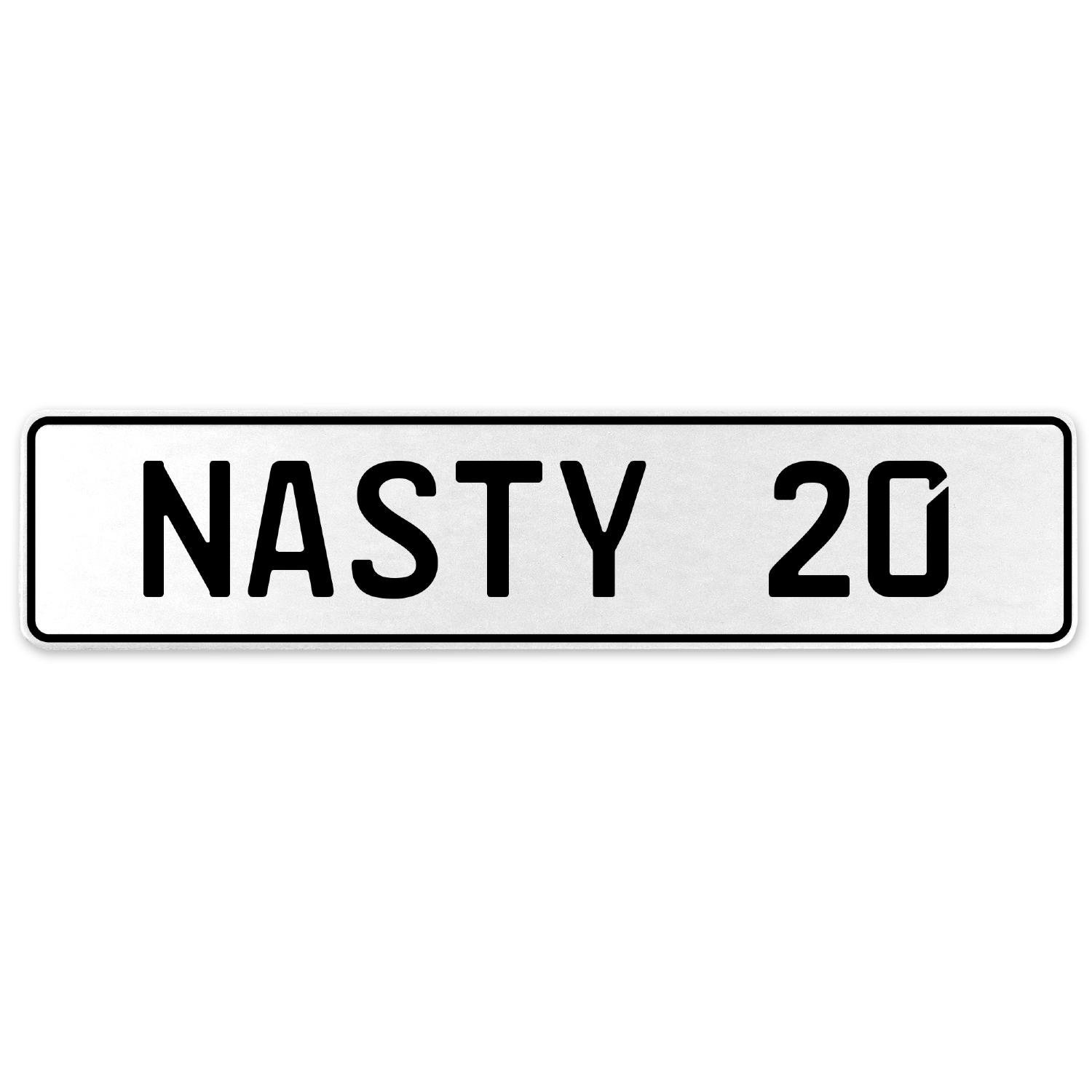 Vintage Parts 556894 Nasty 20 White Stamped Aluminum European License Plate