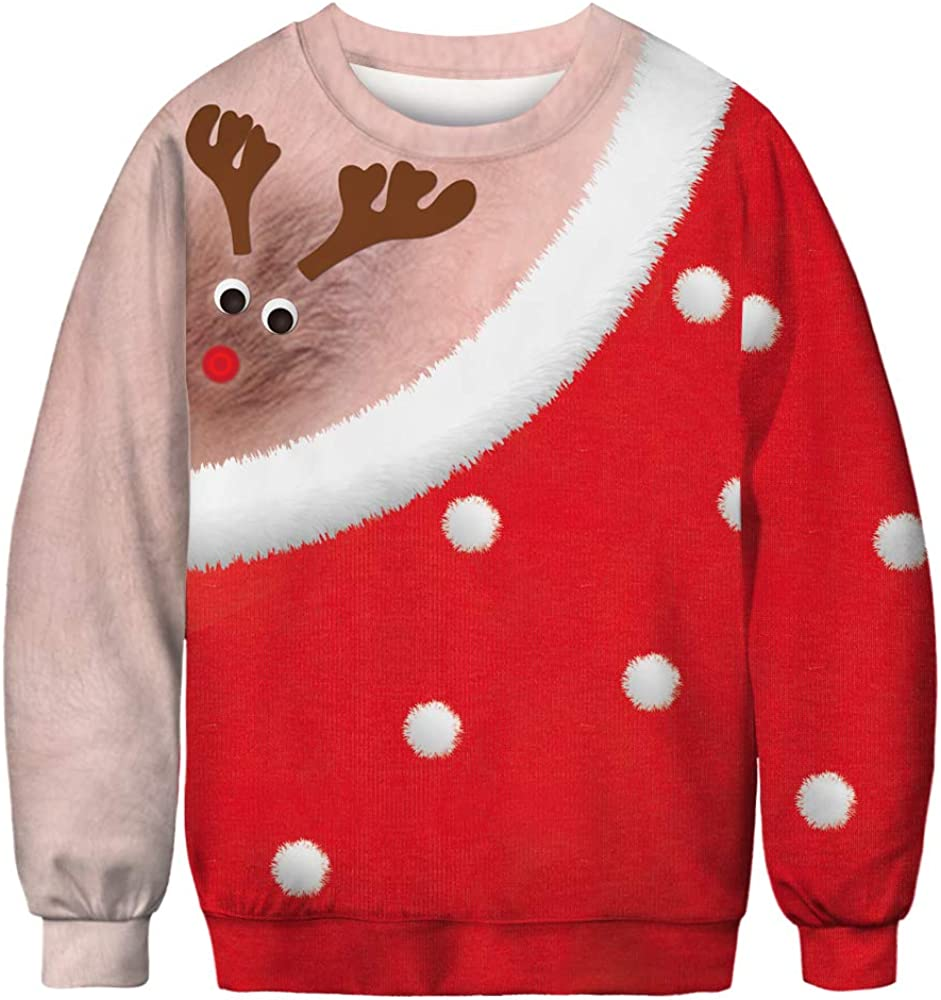 Honeystore Mens and Womens Two Person Ugly Christmas Pullover Sweatshirt