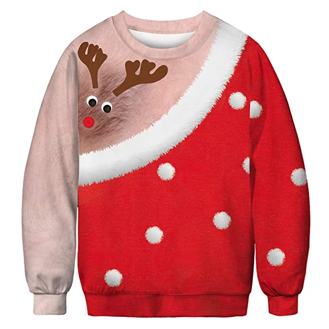 Imbry Men Ugly Christmas Sweater Shirt Unisex Funny 3D Print Pullover Sweatshirt