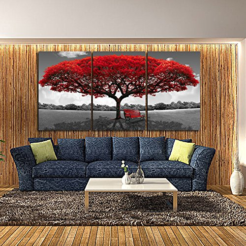 Amazon com lky art wall art 3 panel red tree oil painting abstract art wall scenery picture for living room wall decor oil paintings framed stretched easy