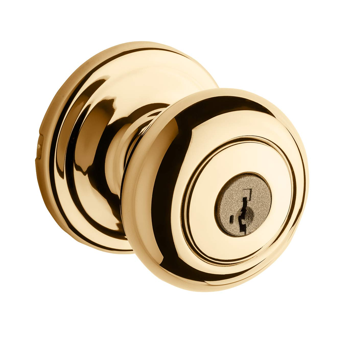 Kwikset Juno Entry Knob featuring SmartKey in Polished Brass