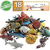 Ocean Sea Animal,18 Pack Rubber Bath Toy Set,Food Grade Material TPR Super Stretchy, Some Kinds Can Change Colour,ValeforToy Squishy Floating Bathtub Toy Figure Party,Realistic Shark Octopus Fish