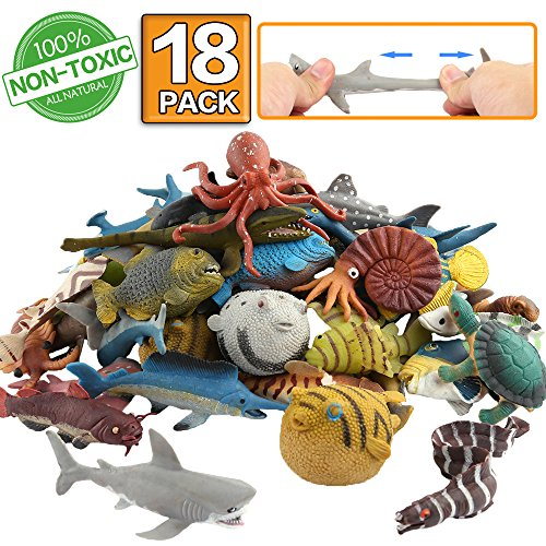 (ValeforToy Ocean Sea Animal,18 Pack Rubber Bath Toy Set,Food Grade Material TPR Super Stretchy, Some Kinds Can Change Colour, Squishy Floating Bathtub Toy Figure Party,Realistic Shark Octopus)