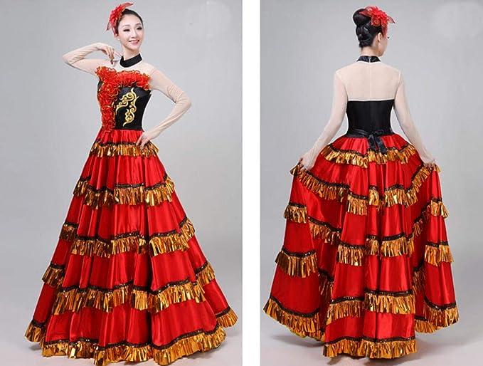ZYLL Falda Flamenca Clásico Traje De Baile Español para ...