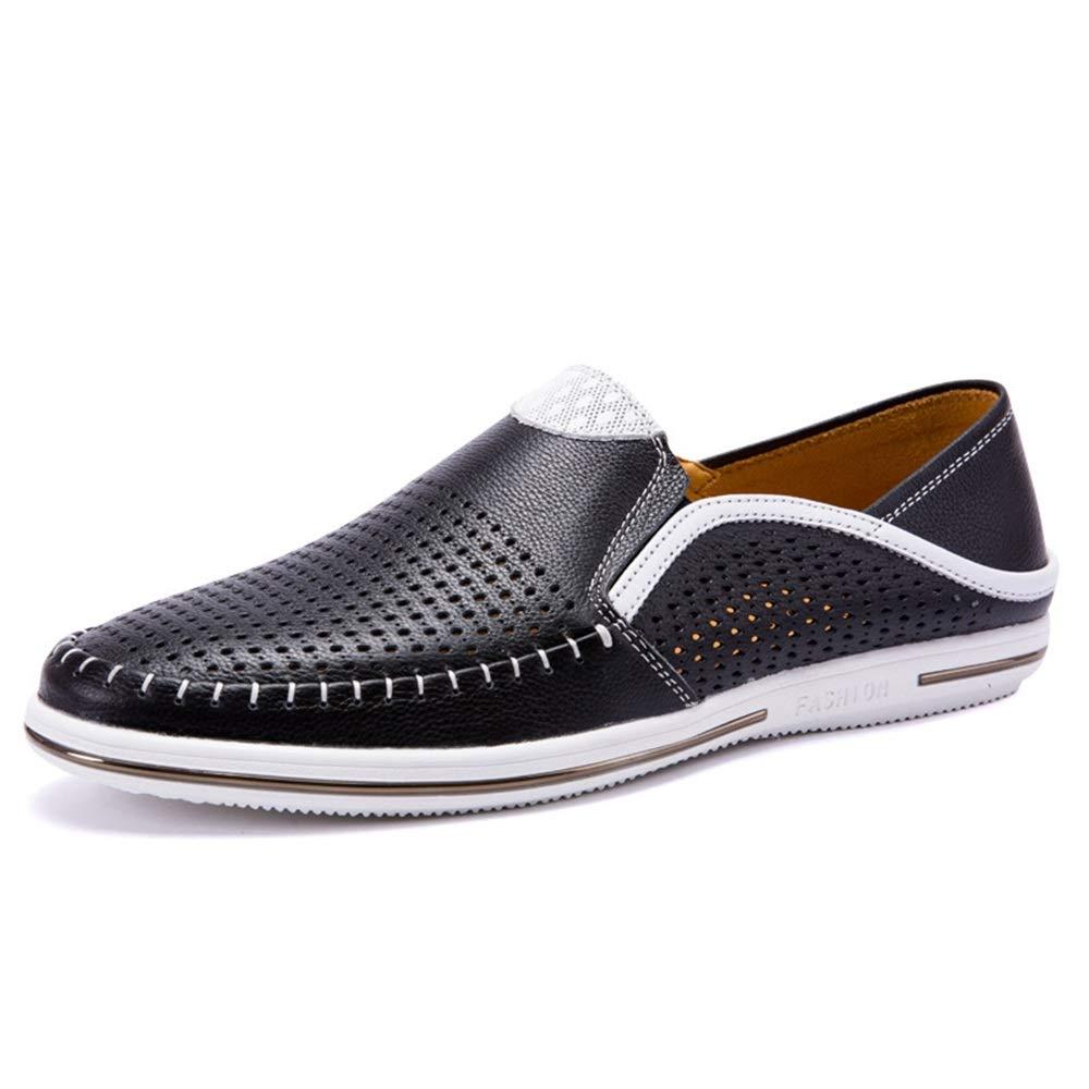 Qiusa Mens Echtes Leder Slip auf Loafers Casual Breath aushöhlen weiche Sohle Schuhe (Farbe   Schwarz, Größe   EU 39)