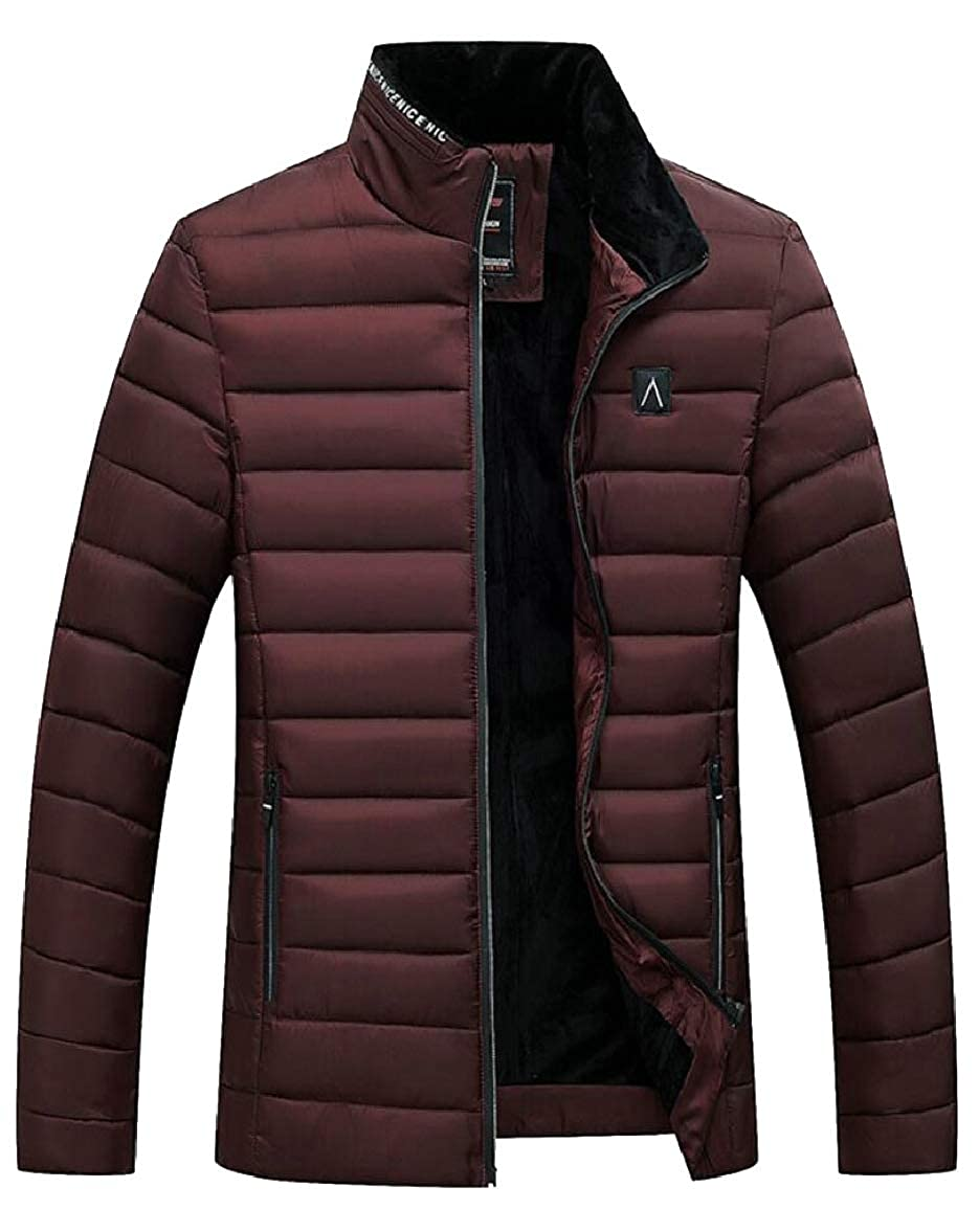 12d651739a4 Wine Red SmeilingCA Mens Winter Thicken Outdoor Fashion Slim Padded Padded  Padded Fleece Down Jacket Coat 5971d0