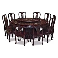"ChinaFurnitureOnline 72"" Mother of Pearl Inlaid Round Table with 10 Chairs - Cherry"