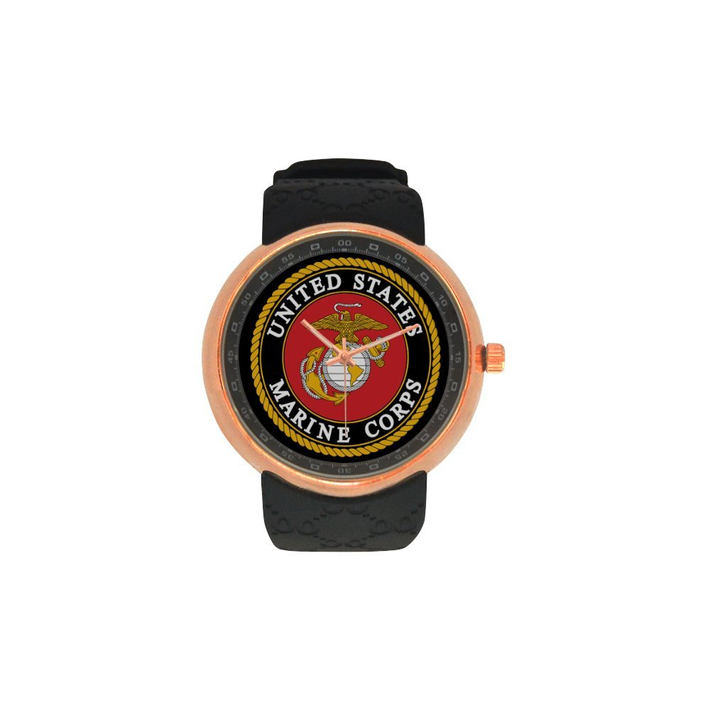 Novelty Gift USMC United States Marine Corps Men's Rose Gold Plated Resin Strap Watch