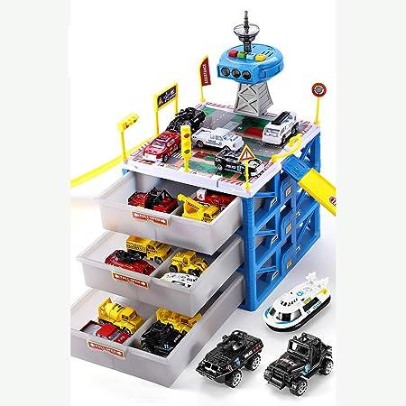 Estacionamiento Garaje parque infantil, vehículos de juguete de coches Caja de almacenamiento Juego de construcción de camiones Juguetes Set regalo educativo con 6 aleación de metal fundido Cars,Azul: Amazon.es: Hogar