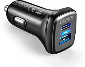 USB C Car Charger,CHOETECH 36W 2-Port Quick Charge 3.0 Power Delivery Type C Car Charger Compatible with iPhone 12/12 Pro/11/11 Pro/11 Pro Max/XS Max/XS/XR, Galaxy Note 10/S10/S9/S9+, Pixel, iPad Pro