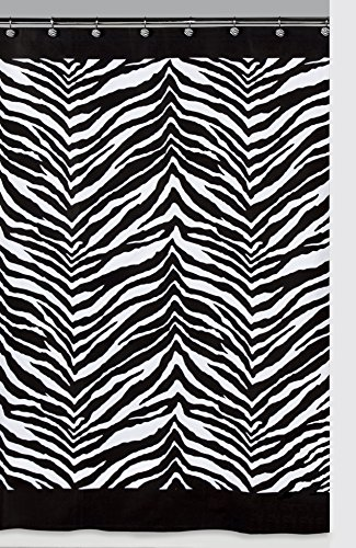 Creative Bath Products Inc. S1050BW Zebra Shower Curtain, Black