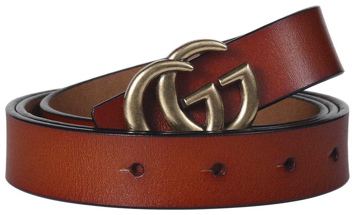 G-Style Gold Buckle Women Slim Belt ~ 2.5cm Belt Width (105cm (Waist 31''~37'' or Below), Brown)