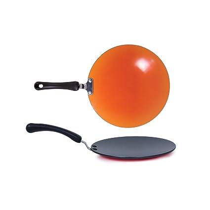 Meyer Aluminium Non-Stick Curved Roti/Chappati/Parantha Tawa 26 cm/5 mm Thick (Orange)