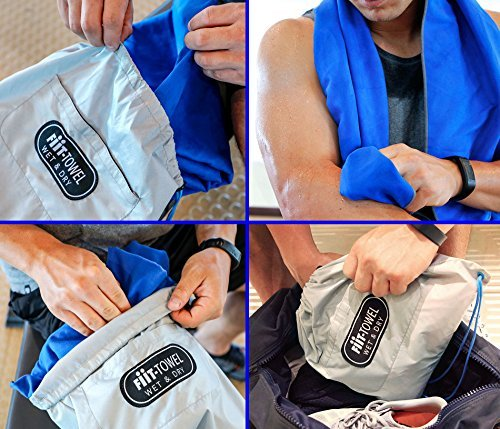 Microfiber Workout Full Size Gym Towel (51 x 24) Quick-Dry, Store Sweat + Wet Gear in Detachable Bag + Key Pocket | Fitness, Hiking, Camping, Swimming, Yoga, Exercise Sports Towel | TiiL (SilverBlue) 61SuWsJkb1L