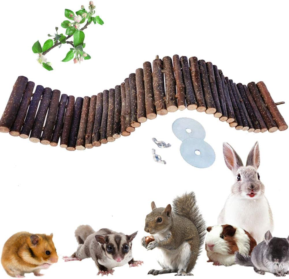 Small Animals Natural Applewood Chewing Toys for Hamster Rabbits Chinchilla Guinea Pigs Bunny Rats Birds and Other Rodent Animals,Healthy Ladder Suspension Bridge Cage Toys for Teeth Care & Exercise