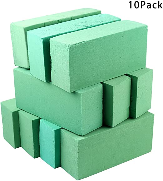 Crafare 6pc Dry Floral Foam Bricks Green Florist Styrofoam Blocks for Fresh Flower Arrangement and Crafts Supply